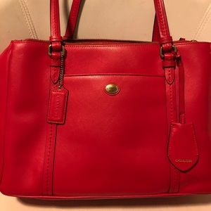 Coach leather red tote bag